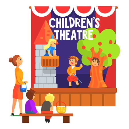 Romeo And Juliette Scene With The Balcony Performed By Kids In Amateur Theatre With Other Pupils Watching With Teacher. Children Actors Acting On Stage Of School Theatre In A Play For Performance Art Class Colorful Vector Illustration
