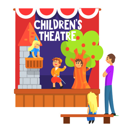 play acting: Prince Saving Princess From The Tower Scene Performed By Kids In Amateur Theatre With Other Pupils Watching With Teacher. Children Actors Acting On Stage Of School Theatre In A Play For Performance Art Class Colorful Vector Illustration