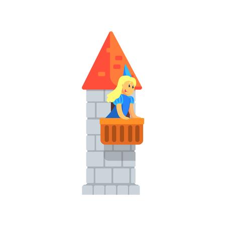 niños actuando: Muchacha en azul princesa traje de pie en el balcón de la torre de la roca Realización En cuento de hadas Mostrar. Niños actores que actúan en la etapa de teatro escolar en un Juego Para Rendimiento Clase de arte colorida ilustración vectorial