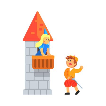 niños actuando: Niña y niño en trajes medievales Reproducción de piezas de Romeo y Julieta En Teatral Show en una escena del balcón. Niños actores que actúan en la etapa de teatro escolar en un Juego Para Rendimiento Clase de arte colorida ilustración vectorial