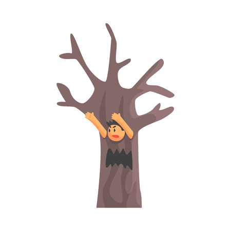 Boy In Costume Of The Dead Scary Tree Performing In Theatrical Show In Fairy-Tale Story. Children Actors Acting On Stage Of School Theatre In A Play For Performance Art Class Colorful Vector Illustration Illustration