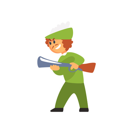 Boy In Costume Of Hunter With Gun Performing In Theatrical Show In Fairy-Tale Red Hood Story. Children Actors Acting On Stage Of School Theatre In A Play For Performance Art Class Colorful Vector Illustration Illustration