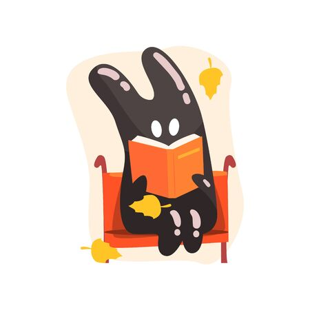silhouette lapin: Black Tar Jelly Rabbit Shape Monster Reading A Book On The Bench Under Falling Yellow Leaves Outdoors In Autumn Season. Part Of Autumn Fantastic Animal Creatures Set Of Funny Cartoon Vector Illustrations Illustration