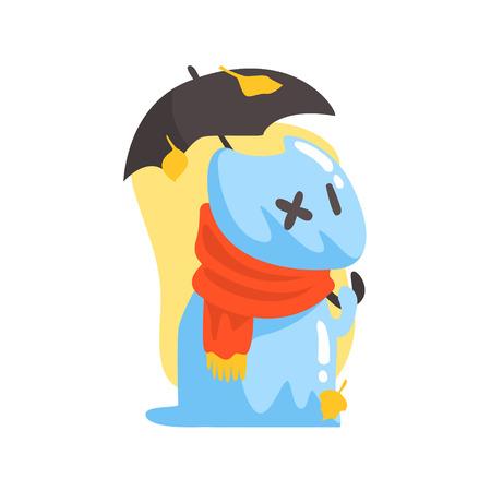 umbrela: Blue Jelly Zombie Dog Monster Holding Orange Umbrela Under Falling Yellow Leaves Outdoors In Autumn Season. Part Of Autumn Fantastic Animal Creatures Set Of Funny Cartoon Vector Illustrations