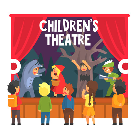 niños actuando: Children Actors Acting On Stage Of School Theatre In A Play For Performance Art Class Colorful Vector Illustration Vectores