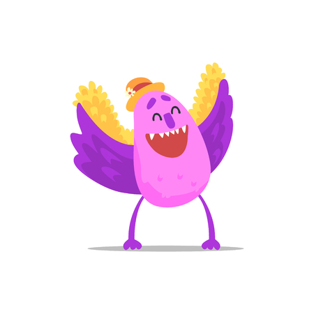 guest: Happy Purple Monster With Wings In Straw Hat Partying Hard As A Guest At Glamorous Posh Party Vector Illustration Part Of The Funny Alien Animal Cartoon Characters At The Celebration Collection.