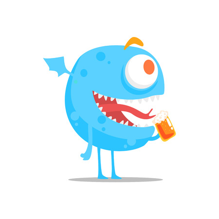 Happy Blue Round Monster With Wings Drinking Beer Partying Hard As A Guest At Glamorous Posh Party Vector Illustration Part Of The Funny Alien Animal Cartoon Characters At The Celebration Collection. Illustration