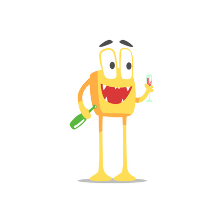 glamorous: Happy Orange Square Monster With Bottle And Glass Of Wine Partying Hard As A Guest At Glamorous Posh Party Vector Illustration Part Of The Funny Alien Animal Cartoon Characters At The Celebration Collection. Illustration