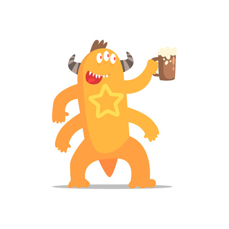 Happy Monster With Four Arms And Horns Drinking Beer Partying Hard As A Guest At Glamorous Posh Party Vector Illustration Part Of The Funny Alien Animal Cartoon Characters At The Celebration Collection.