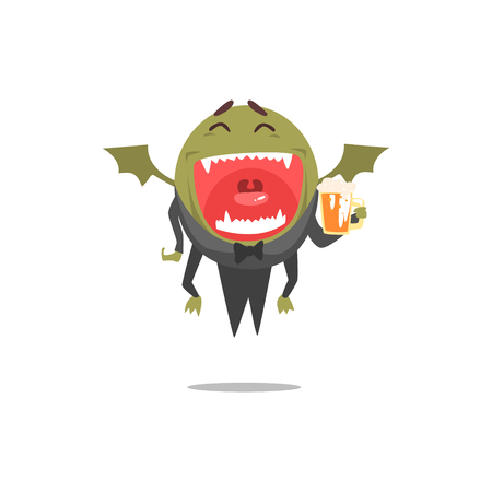 Winged Green Monster Wearing Tails Laughing And Drinking Beer Partying Hard As A Guest At Glamorous Posh Party Vector Illustration Part Of The Funny Alien Animal Cartoon Characters At The Celebration Collection. Illustration