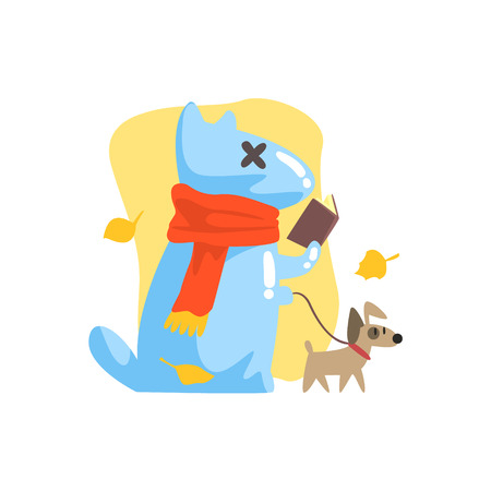dog walking: Blue Jelly Zombie Dog Monster Walking A Small Pet And Reading Book Under Falling Yellow Leaves Outdoors In Autumn Season. Part Of Autumn Fantastic Animal Creatures Set Of Funny Cartoon Vector Illustrations Illustration