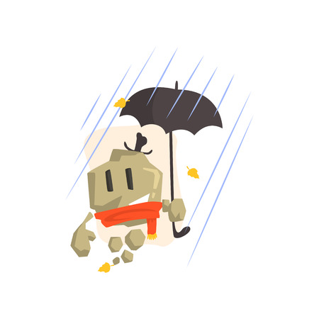 Rock Golem Asteroid Monster In Scarf And Top Hat Under Falling Yellow Leaves And Heavy Rain Outdoors In Autumn Season. Part Of Autumn Fantastic Animal Creatures Set Of Funny Cartoon Vector Illustrations