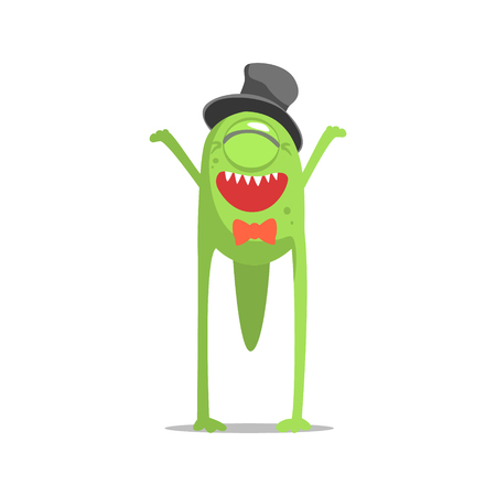 newt: Happy Green One-Eyed Monster In Top Hat And Bow Tie Partying Hard As A Guest At Glamorous Posh Party Vector Illustration Part Of The Funny Alien Animal Cartoon Characters At The Celebration Collection.