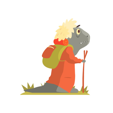 lizzard: Grey Lizzard Monster With Backpack And Walking Stick, Alien Camping And Hiking Cartoon Illustration. Fantastic Animal On A Hike Outdoors In The Wilderness Vector Cute Character.