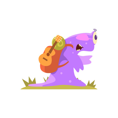 Purple Slug Jelly Monster Carrynig Backpack And Guitar, Alien Camping And Hiking Cartoon Illustration. Fantastic Animal On A Hike Outdoors In The Wilderness Vector Cute Character.