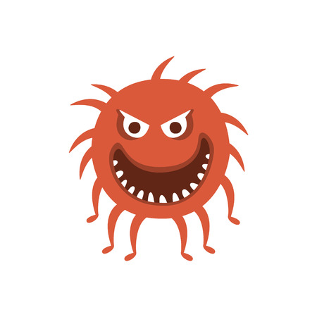 hairy legs: Round Red Hairy Aggressive Malignant Bacteria Monster With Sharp Teeth And Many Legs Cartoon Vector Illustration. Colorful Alien Virus Microorganism Unfriendly Character Flat Drawing.