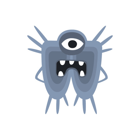 Blue One-Eyed Aggressive Malignant Bacteria Monster With Sharp Teeth Cartoon Vector Illustration. Colorful Alien Virus Microorganism Unfriendly Character Flat Drawing.