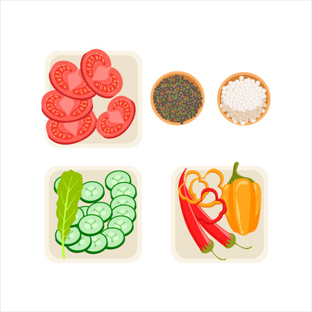 Set Of Fresh Vegetable Ingredients Cut And Prepared For Cooking In Three Plates With Salt And Pepper Vector Illustration. Part Of Grill Restaurant Set Of Cartoon Drawings With Ready Meals And Their Cooking Process. Illustration