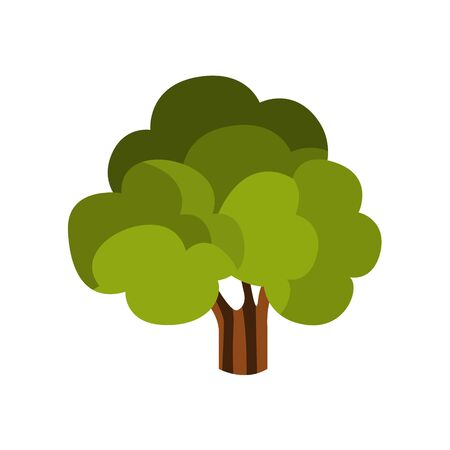Standalone Large Tree With Green Crown, Camping And Hiking Outdoor Tourism Related Item Isolated Vector Illustration. Part Of Forest Touristic Adventures Objects Collection In Cute Flat Design.