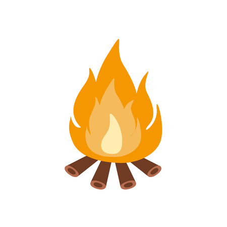 touristic: Bonfire Burning On Firewood In The Camp, Camping And Hiking Outdoor Tourism Related Item Isolated Vector Illustration. Part Of Forest Touristic Adventures Objects Collection In Cute Flat Design.