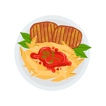 side of beef: Grilled Beef Steaks With A Side Of Penne Pasta Bolognese Vector Illustration Of Food Cooked On Grill Cafe Menu Dish. Part Of Grill Restaurant Set Of Cartoon Drawings With Ready Meals And Their Cooking Process.