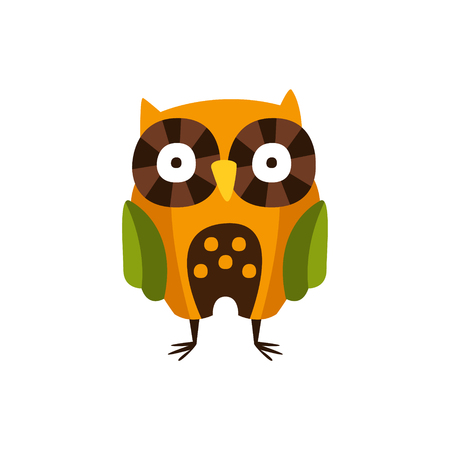 touristic: Stylized Owl Standing, Camping And Hiking Outdoor Tourism Related Item Isolated Vector Illustration. Part Of Forest Touristic Adventures Objects Collection In Cute Flat Design. Illustration