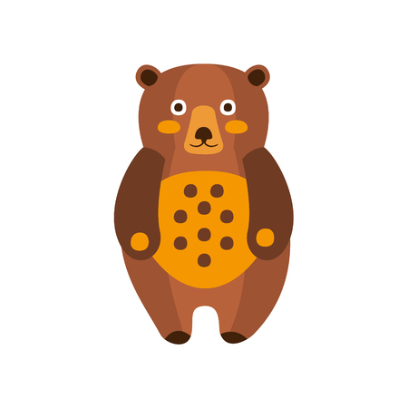 touristic: Toy Brown Bear Standing, Camping And Hiking Outdoor Tourism Related Item Isolated Vector Illustration. Part Of Forest Touristic Adventures Objects Collection In Cute Flat Design. Illustration