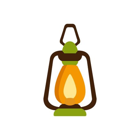 Vintage Camp LAntern, Camping And Hiking Outdoor Tourism Related Item Isolated Vector Illustration. Part Of Forest Touristic Adventures Objects Collection In Cute Flat Design.