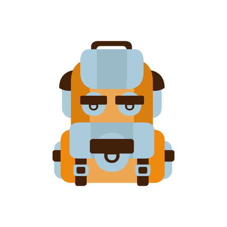 touristic: Travelling Blue And Orange Backpack , Camping And Hiking Outdoor Tourism Related Item Isolated Vector Illustration. Part Of Forest Touristic Adventures Objects Collection In Cute Flat Design.