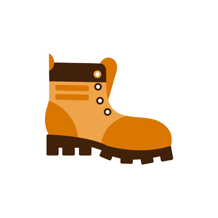 Enduring Leather Boot, Camping And Hiking Outdoor Tourism Related Item Isolated Vector Illustration. Part Of Forest Touristic Adventures Objects Collection In Cute Flat Design.