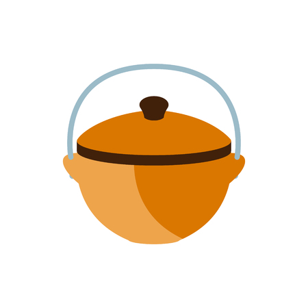 Cooking Pot For A Camp, Camping And Hiking Outdoor Tourism Related Item Isolated Vector Illustration. Part Of Forest Touristic Adventures Objects Collection In Cute Flat Design. Illustration