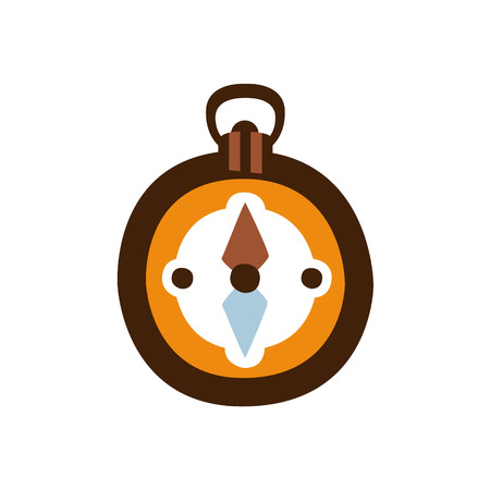 touristic: Pocket Magnetic Compass, Camping And Hiking Outdoor Tourism Related Item Isolated Vector Illustration. Part Of Forest Touristic Adventures Objects Collection In Cute Flat Design.