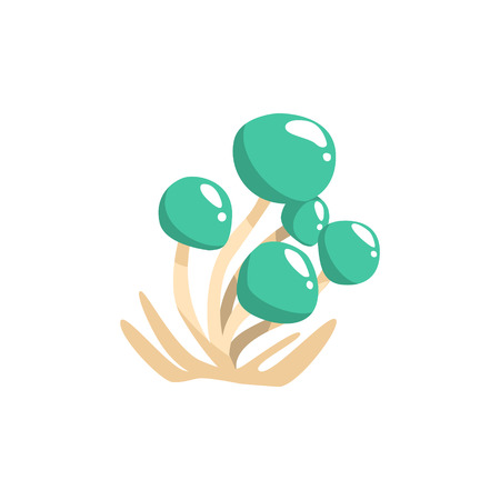 uneatable: Glossy Blue Cap Mushrooms Isolated Element Of Forest Landscape Design For The Flash Game Landscaping Purposes. Video Game Details For The Woodland Level Vector Cartoon Illustration. Illustration