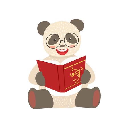 bookworm: Panda Smiling Bookworm Zoo Character Wearing Glasses And Reading A Book Cartoon Illustration Part Of Animals In Library Collection. Flat Vector Drawing With Childish Design Fauna Studying The Literature.