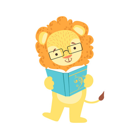 bookworm: Lion Smiling Bookworm Zoo Character Wearing Glasses And Reading A Book Cartoon Illustration Part Of Animals In Library Collection. Flat Vector Drawing With Childish Design Fauna Studying The Literature. Illustration