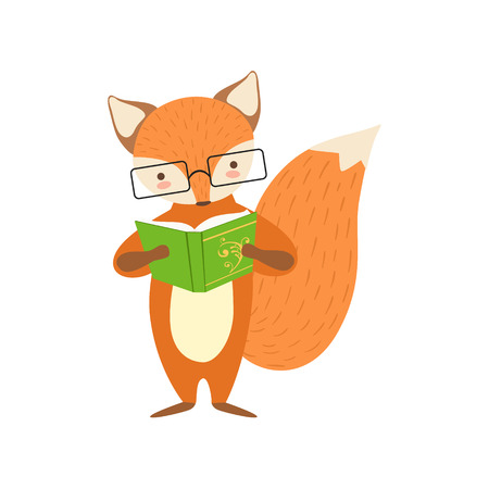 clever: Fox Smiling Bookworm Zoo Character Wearing Glasses And Reading A Book Cartoon Illustration Part Of Animals In Library Collection. Flat Vector Drawing With Childish Design Fauna Studying The Literature. Illustration