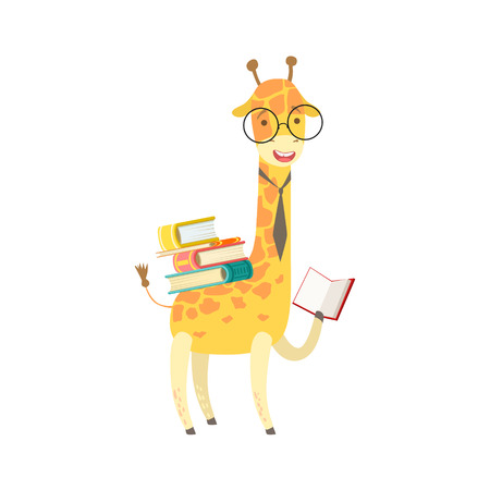 bookworm: Giraffe Smiling Bookworm Zoo Character Wearing Glasses And Reading A Book Cartoon Illustration Part Of Animals In Library Collection. Flat Vector Drawing With Childish Design Fauna Studying The Literature.