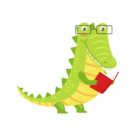 クロコダイルめがねをかけて、本を読んで本の虫動物園文字を笑って漫画図書館の蔵書の動物のイラスト部分です。幼稚なデザイン動物文学の勉強  イラスト・ベクター素材