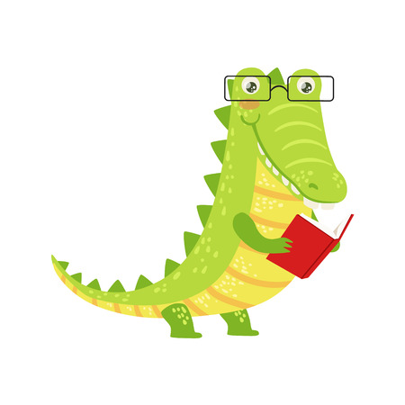 Crocodile Smiling Bookworm Zoo Character Wearing Glasses And Reading A Book Cartoon Illustration Part Of Animals In Library Collection. Flat Vector Drawing With Childish Design Fauna Studying The Literature.