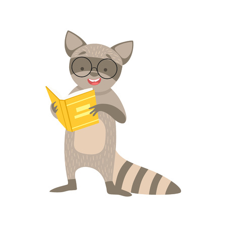 bookworm: Raccoon Smiling Bookworm Zoo Character Wearing Glasses And Reading A Book Cartoon Illustration Part Of Animals In Library Collection. Flat Vector Drawing With Childish Design Fauna Studying The Literature.