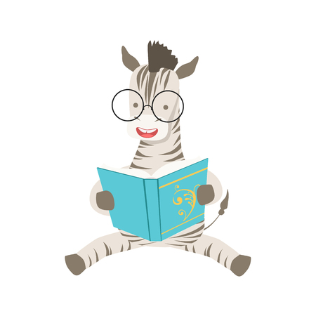 bookworm: Zebra Smiling Bookworm Zoo Character Wearing Glasses And Reading A Book Cartoon Illustration Part Of Animals In Library Collection. Flat Vector Drawing With Childish Design Fauna Studying The Literature.