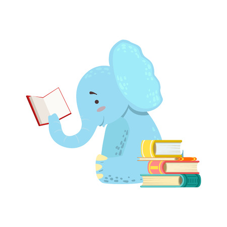 bookworm: Elephant Smiling Bookworm Zoo Character Reading A Book Cartoon Illustration Part Of Animals In Library Collection. Flat Vector Drawing With Childish Design Fauna Studying The Literature. Illustration