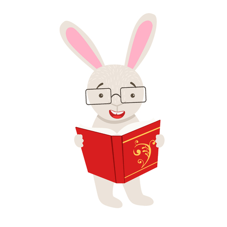 bookworm: White Rabbit Smiling Bookworm Zoo Character Wearing Glasses And Reading A Book Cartoon Illustration Part Of Animals In Library Collection. Flat Vector Drawing With Childish Design Fauna Studying The Literature. Illustration