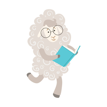bookworm: Sheep Smiling Bookworm Zoo Character Wearing Glasses And Reading A Book Cartoon Illustration Part Of Animals In Library Collection. Flat Vector Drawing With Childish Design Fauna Studying The Literature.
