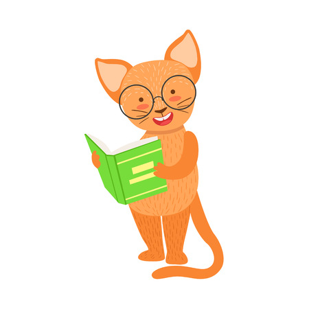 bookworm: Red Cat Smiling Bookworm Zoo Character Wearing Glasses And Reading A Book Cartoon Illustration Part Of Animals In Library Collection. Flat Vector Drawing With Childish Design Fauna Studying The Literature.