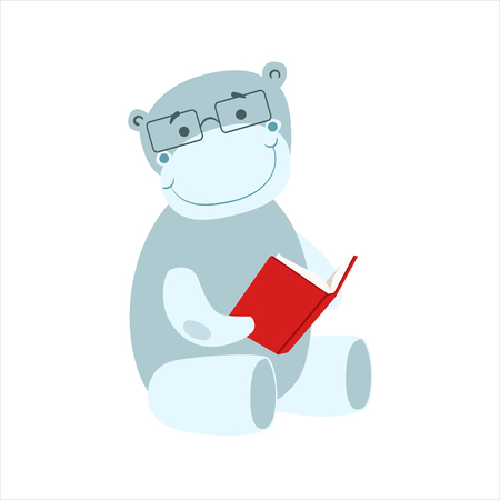 bookworm: Hippo Smiling Bookworm Zoo Character Wearing Glasses And Reading A Book Cartoon Illustration Part Of Animals In Library Collection. Flat Vector Drawing With Childish Design Fauna Studying The Literature.