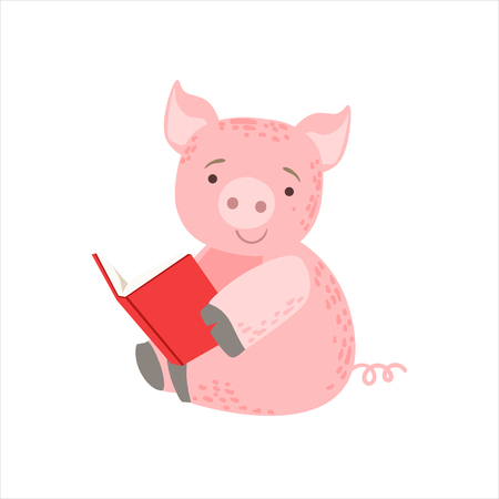 bookworm: Pig Smiling Bookworm Zoo Character Wearing Glasses And Reading A Book Cartoon Illustration Part Of Animals In Library Collection. Flat Vector Drawing With Childish Design Fauna Studying The Literature. Illustration