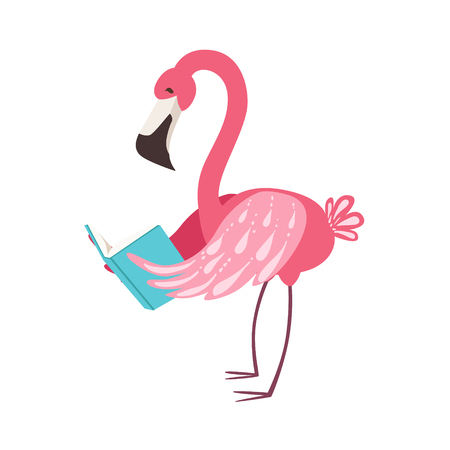 Pink Flamingo Smiling Bookworm Zoo Character Wearing Glasses And Reading A Book Cartoon Illustration Part Of Animals In Library Collection. Flat Vector Drawing With Childish Design Fauna Studying The Literature.
