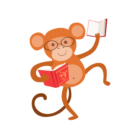 bookworm: Monkey Smiling Bookworm Zoo Character Wearing Glasses And Reading A Book Cartoon Illustration Part Of Animals In Library Collection. Flat Vector Drawing With Childish Design Fauna Studying The Literature. Illustration