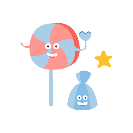 lollypop: Lollypop And Chocolate Candy Children Birthday Party Attribute Cartoon Happy Humanized Character In Girly Colors. Kids Celebration Related Object With Smiling Face Flat Vector Illustration.